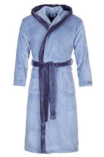 Di Ficchiano Badjas voor heren, Monza met capuchon, ochtendjas, pluizig, nachtkleding van luxe microvezel, kimono met keuze uit kleuren en maten S - 5XL, Bath-Robe Öko-Tex Standard 100, Jeans blauw, XL