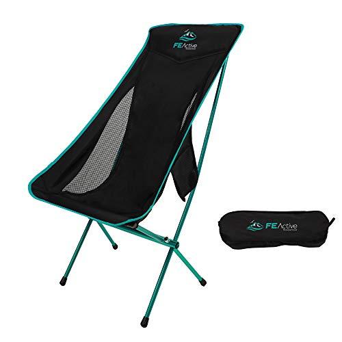 FE Active Opvouwbare campingstoel - Extra lange draagbare compacte opvouwbare strandstoel w hoofdsteun voor meer comfort. volledige aluminium gewrichten voor wandelen, buitenshuis, backpacken, reizen   Ontworpen in California