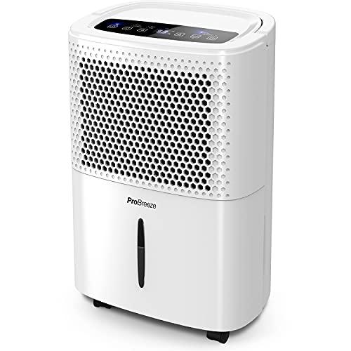 Pro Breeze 12 liter/dag Luchtontvochtiger met Digitale Vochtigheidsweergave, Slaapstand, Doorlopende Afvoer, Wasdroogfunctie en 24-uurs Tijdschakelaar - Ideaal tegen Vocht en Condensvorming