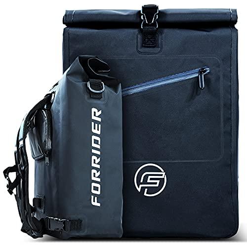 Forrider 3-in-1 fietstas voor bagagedrager met rugzak, waterdicht, 27 liter, bagagedragertas, reflecterend, zadeltas voor fiets