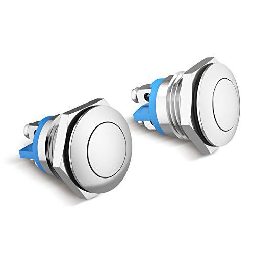TankerStreet 2 stuks 16 mm metalen belknop roestvrij staal drukknop drukknop drukschakelaar waterdicht claxon claxon knop deurbel bel top zilver