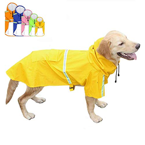 FeiLuo hond regenjassen waterdichte regenjas met capuchon vrije tijd lichtgewicht reflecterende strip hoodies huisdier winddichte regen poncho jas outdoor veiligheid regenjassen voor middelgrote en grote honden, 4XL(Length:70CM), Geel