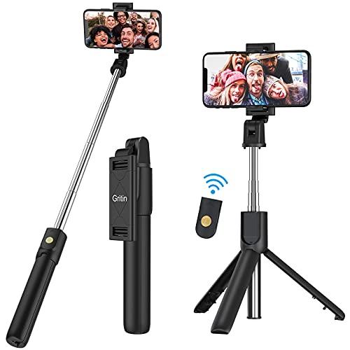 Gritin Selfie Stick, 3 in 1 Bluetooth Selfie Stick Statief, Uitschuifbare en Draagbare Selfie Stick met Afneembare Draadloze Afstandsbediening & Stabiele Statief Stand, Compatibel met iPhone/Galaxy/Huawei, enz.