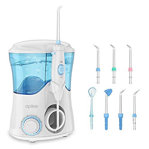 Apiker Elektrische monddouche voor het reinigen van de tanden, professionele waterflosser met traploze waterdrukinstelling 600 ml watertank 8 verschillende functies sproeiers - wit