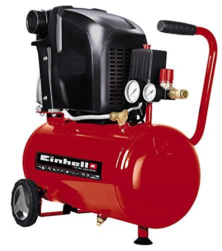 Einhell Compressor TE-AC 230/24/8 (1500 W, 8 bar, olie gesmeerd, kijkglas voor nazien oliepeil, 24 L tank, manometer en snelkoppeling, grote wielen, rubberen voet, wateraflaatplug), rood