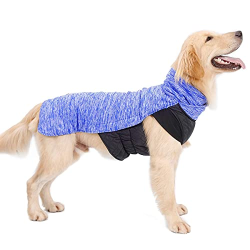 LIVACASA Hond Jas Omkeerbaar met Leash Gat Puppy Huisdier Vest Kleding Jas Fleece Lichtgewicht Waterafstotend Winter Warm Outdoor, XL, Blauw