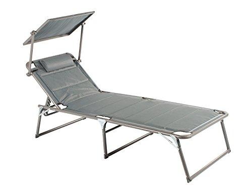 Meerweh Aluminium ligstoel XXL met dak, drie poten gestoffeerd met Quick Dry Foam, antraciet, 200 x 70 x 37,5 cm, 74066