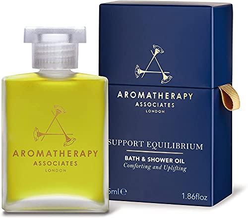Aromatherapy Associates Support Equilibrium Bath & Shower Oil 55ml, een revitaliserende mix van geranium, roos en wierook essentiële oliën om de geest te helpen opkrikken. Emotioneel evenwicht.