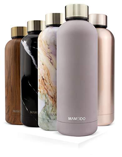 MAMEIDO drinkfles edelstaal - 500 ml thermosfles - lekvrij, BPA-vrij - geïsoleerde waterfles, dubbelwandige, slanke & lichte thermoskan