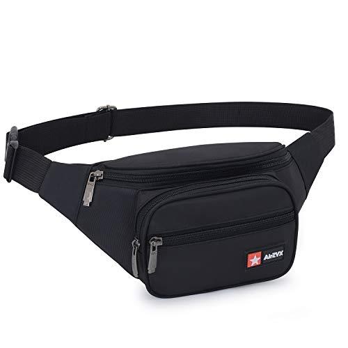 AirZyx Waterdichte heuptas voor dames en heren, voor reizen en sport, heuptas voor dames en heren, waterdicht, voor hardlopen (zwart)