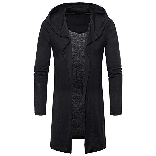 HaiDean Heren trenchcoat jas met caps capuchon cardigan lang modern casual outwear lange mouwen slim fit effen lente herfst jas jassen