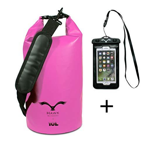 HAWK OUTDOORS Dry Bag - waterdichte rugzak gevoerde schouderriemen inclusief waterdichte mobiele telefoon hoes - 30L/20L/10L - Opbergzak zak - Waterdichte rugzak - kajak, rafting, zeilen