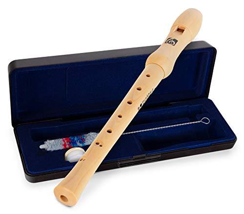 Kirstein Sopraanblokfluit esdoorn (scholierfluit, C-sopraan, barokke grip, incl. koffer, kurkvet en wisserstaaf)