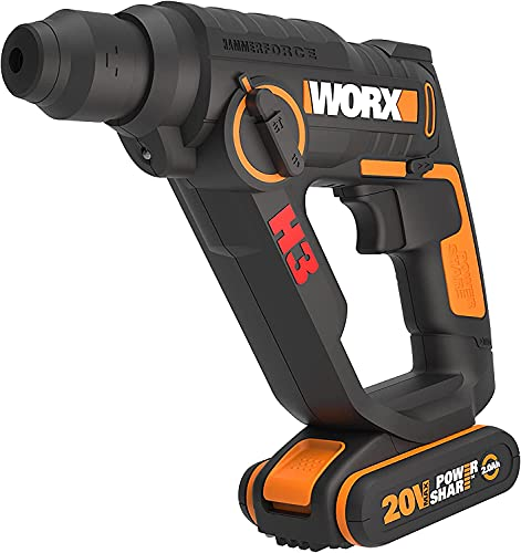 Worx Wx390.1 Boorhamer Sds-Plus, 1,2 Joule Slagenergie, 2 Li-Ion-Accu's, 20V, Zwart/Oranje