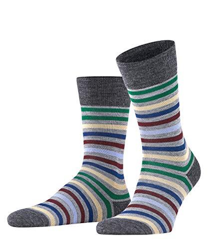 FALKE Sokken Tinted Stripe scheerwol katoen heren zwart grijs vele andere kleuren versterkte herensokken met patroon ademend gestreept 1 paar, grijs (Mid Grey Melange 3530), 39-42