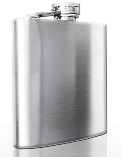 Outdoor Saxx® - Roestvrijstalen heupfles, Flagon borsttas, zakfles met veilige schroefsluiting, geborsteld roestvrij staal, 170 ml