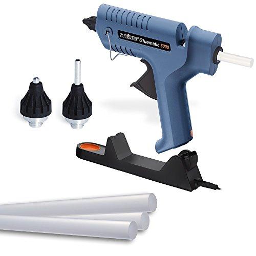 Steinel Hete lijmpistool Gluematic 5000, lijmpistool, incl. 5 lijmsticks van van Ø11 mm, lekbak, laadstation, 2 mondstukken, smeltcapaciteit van 22 g/min, 18.5 x 3.2 x 18 cm, Blauw
