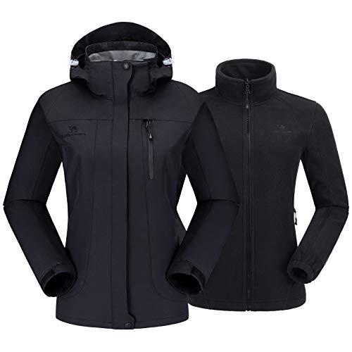 CAMEL CROWN Dames 3-in-1 ski-jack met fleece jas waterdicht winddicht warm winterjas dubbele jas outdoor regenjas functionele jas