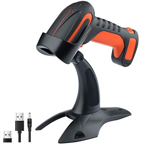 Tera Draadloze industriële barcode-scanner, 1D 2D QR barcodelezer, bluetooth, draadloos, 2,4G handscanner, 30m bereik, 2200mAh accu, uitstekende valbeveiliging (3m), IP66 stof- en waterdicht, model 8100