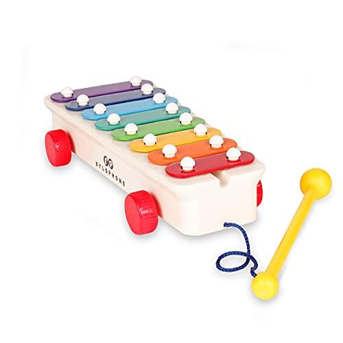 Fisher-Price FISH800502 Retro xylofoon muziekinstrument, kinderxylofoon met aangehechte klep, kinderinstrument als motoriekspeelgoed, muziekklokkenspel voor kinderen vanaf 18 maanden
