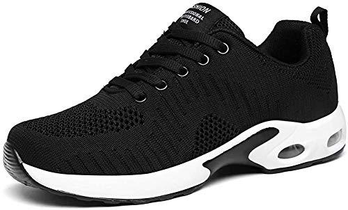 LUOBANIU Sportschoenen voor dames, loopschoenen met luchtkussen, turnschoenen, sneakers, trainer, lichte luchtschoenen, zwart, 37 EU