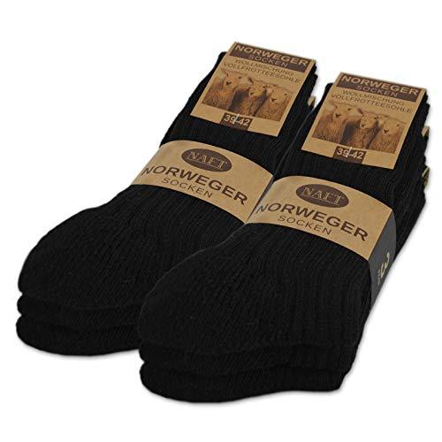 6 paar noorse sokken met wol in zwart grijs of antraciet wintersokken herensokken - sockenkauf24 (43-46, 6 paar | Zwart)