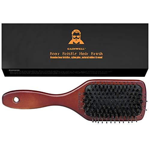 Haarborstel met natuurlijke borstels, borstel met houten handvat, verzorgt het haar en masseert de hoofdhuid, alle haarlengtes Gainwell
