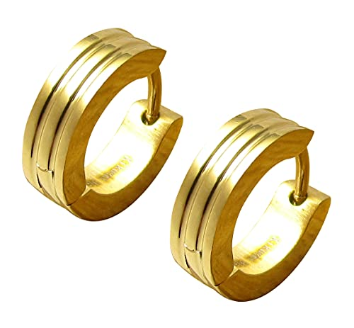Kikuchi ER15120 Oorbellen voor dames en heren, roestvrij staal, met 2 frezen goud, 4 mm