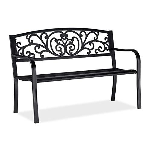 Relaxdays Tuinbank, comfortabele 2-zits, met vintage ornamenten, voor terras, balkon, H x B x D 86,5 x 127 x 60 cm, zwart