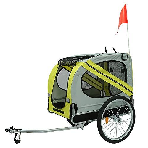 Opvouwbare Hondenfietskar, Fietskar met Veiligheidsgordel en Vlag, Doggy Car voor Honden, Max. 40KG (Geel grijs)