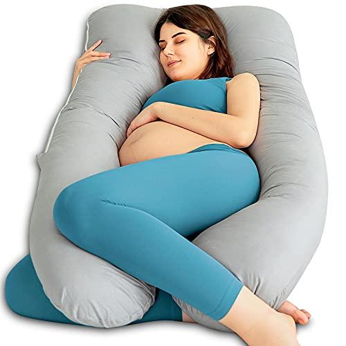 QUEEN ROSE Zwangerschapskussen, U-vormig Lichaamskussen voor Zwangere Vrouwen, Voedingskussen met Wasbare Katoen Hoes, Grijs
