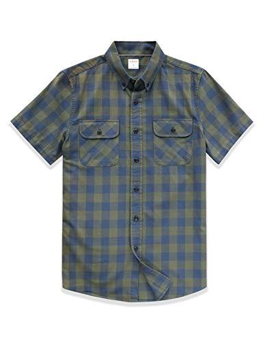 Dubinik Mannen korte mouw geruite Flanellen Shirt geruit Casual Shirt Regular fit, Groen, XL