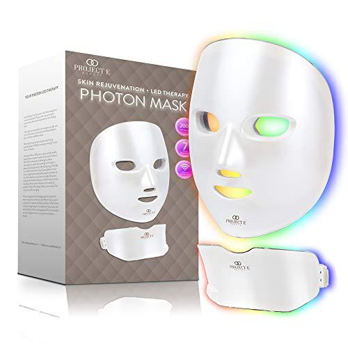Project E Beauty Photon Huidverjonging Gezichts- en nekmasker   Draadloze LED Fotontherapie 7 kleuren Lichtbehandeling Anti-aging Acne Vlekverwijdering Rimpels Whitening Gezichtsmasker