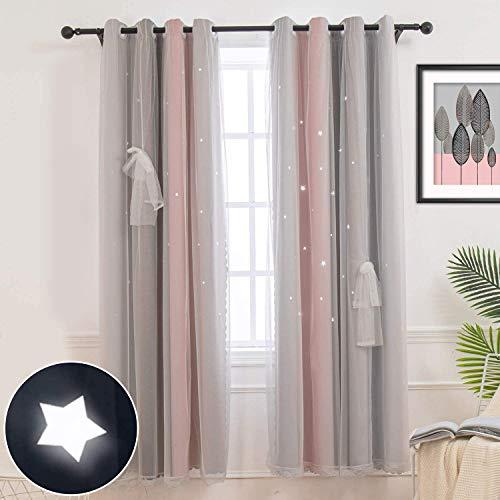 CoutureBridal Gordijn ondoorzichtig gordijn met ogen gordijnen kinderkamer slaapkamer grijs roze sterren voile verduisteringsgordijnen voor kinderen meisjes, 1 stuk (H 240 x B 132 cm)