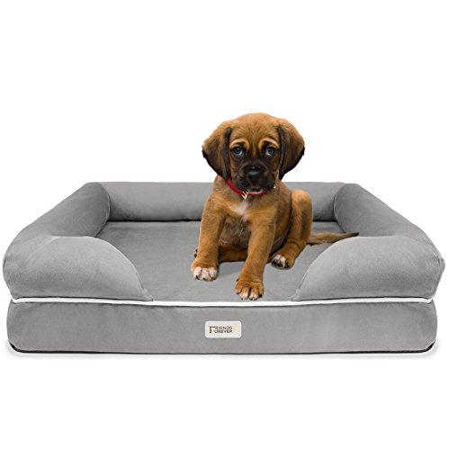 SCM Orthopedische Hondenmand Lounge Sofa - 100% Suède Afneembare Hoes - 10cm Matras Traagschuim Premium Prestige Edition - Ultieme Hondenmand voor Grote Honden, Small: 20