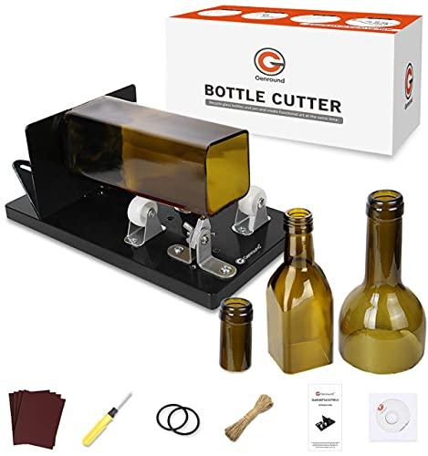 Genround Glassnijder voor flessen, 2021 upgrade 2.1 glazen flessnijder, ronde/vierkante fles van hals tot body bottle cutter tool, wijnfles flessensnijder glas DIY