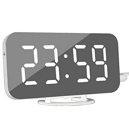 DollaTek Digitale wekker - moderne wekker met USB-aansluiting digitale spiegelklok beste decoratieve klok voor The Wall Table Desk - wit lettertype