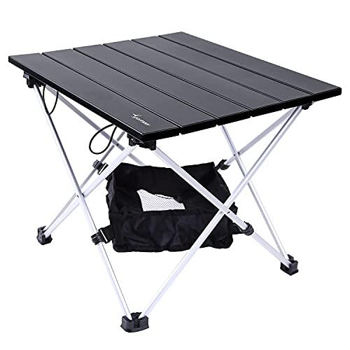 Draagbare campingtafel, Sportneer Lichtgewicht klaptafel met aluminium tafelblad en draagtas, prefect voor dineren, snijden, koken, picknicken, buiten, koken, strand, wandelen, vissen, zwart, M
