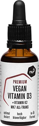 Nu3 veganistische vitamine D3 K2 druppels – 30ml premiumkwaliteit – hoge biobeschikbaarheid met 500 IE vitamine D per druppel – met MCT uit kokosolie voor een snellere opname – eenvoudige dosering met een pipet