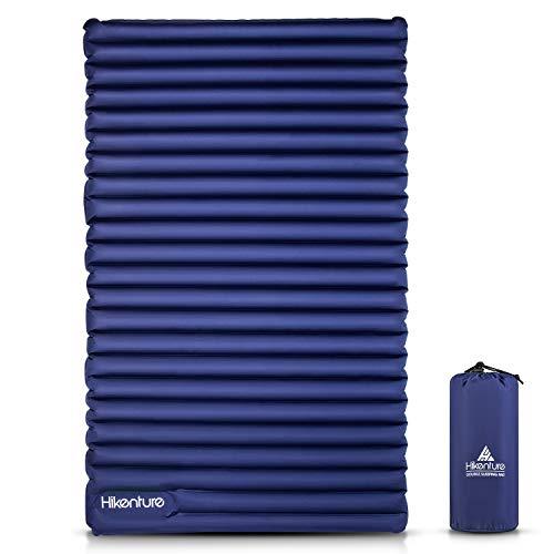 HIKENTURE Ultralichte isolerende slaapmat, dubbele isolerende mat, opblaasbaar voor 2 personen, luchtmatras, slaapmat, klein pakformaat met voetpomp, voor kamperen, reizen, outdoor, wandelen, strand, marineblauw