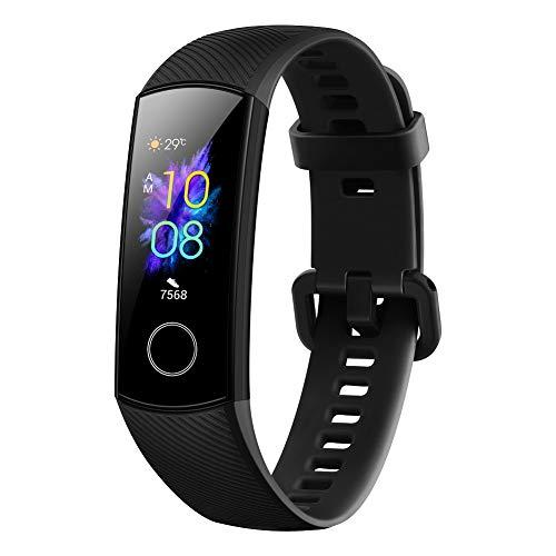 HONOR Band 5 Smartwatch Armband met hartlagmeting, Sport Activiteitsmonitors, Waterdichte IP68 Fitnesstracker, AMOLED Kleurendisplay, 0,95 inch, Vol Touchscreen voor Android 4.4+/iOS 9.0 + (Zwart)