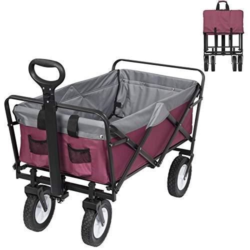 Bolderkar, opvouwbaar, transportwagen, handkar met 4 wielen, voor kamperen, winkelen, belastbaar tot 80 kg, lila