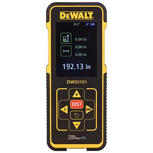 DeWalt Laser-afstandsmeter (635 nm, laserklasse 2, voor lengte-, oppervlakte- en volumemeting, in meters en inch, incl. 2x LR03 (AAA) batterijen en beschermhoes) DW03101