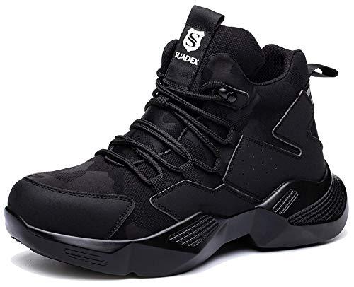 SUADEX Veiligheidsschoenen Heren Werkschoenen Lichtgewicht Safety Shoes, Zwart 43 EU