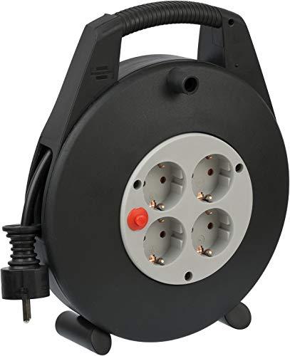 Brennenstuhl Vario Line kabelbox, 4-voudig, mini-kabelhaspel (indoor kabelhaspel voor huishouden, 10 m kabel, Made in Germany) zwart/grijs