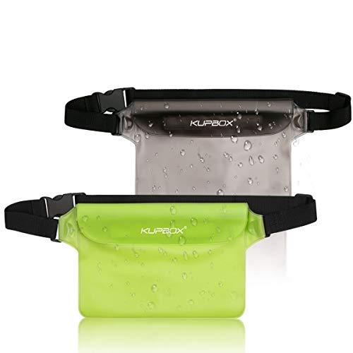 KUPBOX 2 stuks waterdichte tassen met verstelbare riem, waterdichte tas, 100% waterdichte telefoonhoes, beschermhoes voor watersport, strand, zwemmen, boottochten, skiën enz.