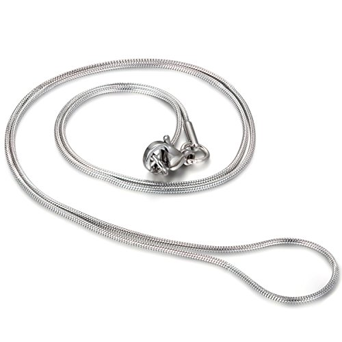 JewelryWe Sieraad roestvrij staal slang halsketting slangenketting, breedte 1 mm lengte 43 cm zilver unisex
