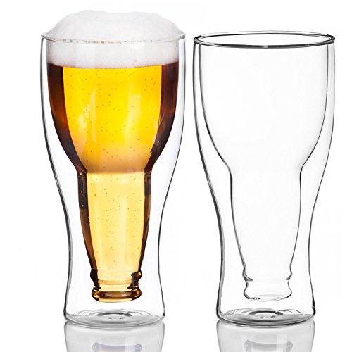 Dubbelwandig Bierglas Binnenstebuiten Ondersteboven Bierfles in Glas (2 Glazen)