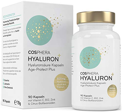 Hyaluronzuur-capsules – hoge dosis met 500 mg per capsule. 90 veganistische capsules in 3 maandvoorraad - 500-700 kda - verrijkt met vitamine C, B12 en zink - voor huid, anti-aging en gewrichten - Cosphera
