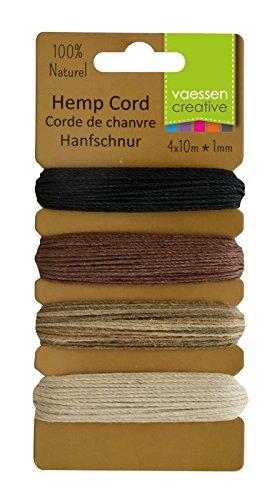 Vaessen Creative hennepsnoer uit biologische hennep basiskleuren 4 x 10 m, Hemp, multicoulor, 16,3 x 7,9 x 1 cm, 4 stuks